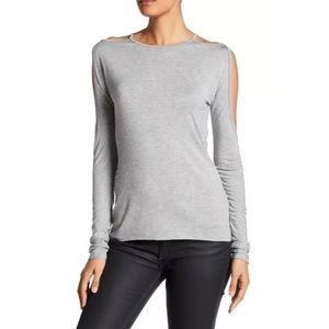 Bailey 44 Cold Shoulder Open Sleeve Sm Gray Top